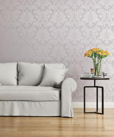 紫ダマスク織のビクトリア朝の壁紙とグレーのソファー 写真素材 - 48700623