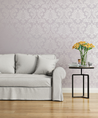 victorian wallpaper: Grey sofa with a purple damask victorian wallpaper