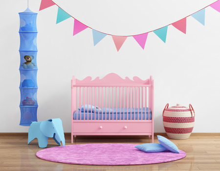 babys: Babys pink nursery room with flags and rug Stock Photo