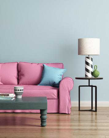 明るいブルーの豪華なインテリアでモダンなピンクのソファ