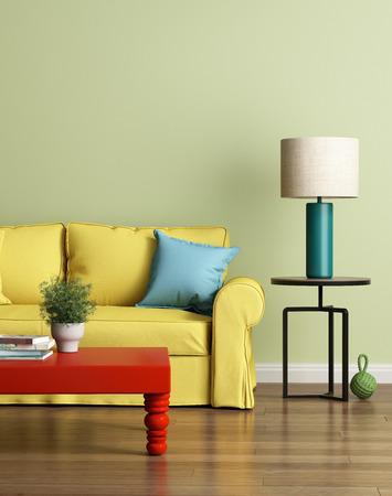 光の緑高級インテリアでモダンな黄色いソファ