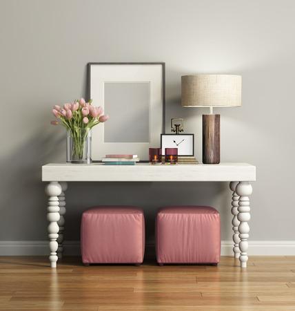 의자와 우아한 세련된 갈색 콘솔 테이블