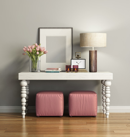Elegant chic brown console table with stools