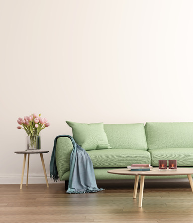 green couch: Contemporary green living room