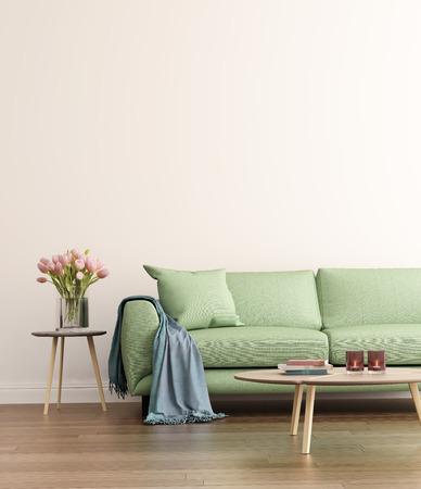 Eigentijdse groene woonkamer Stockfoto