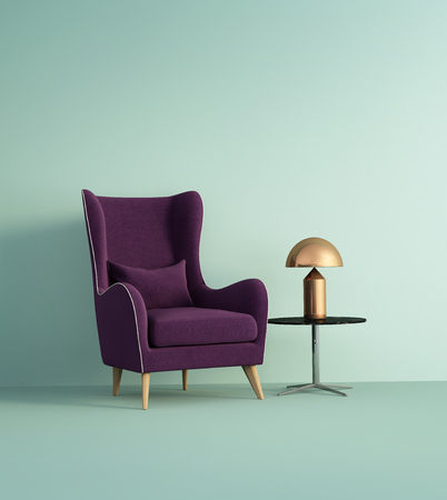 Violet armchair over pale green wall Stok Fotoğraf