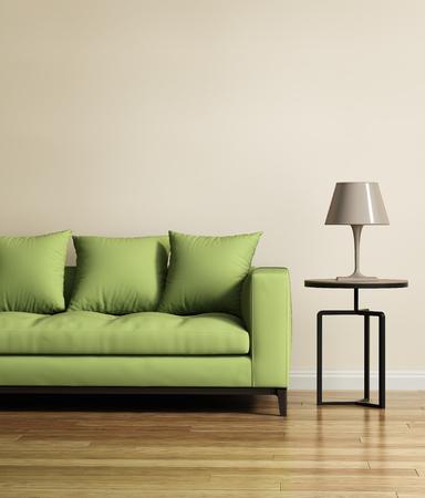 Salón con un sofá de color verde claro
