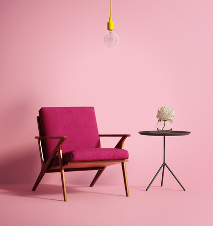 Contemporary pink phux armchair