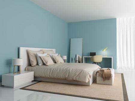 現代的なモダンなライト ブルー寝室
