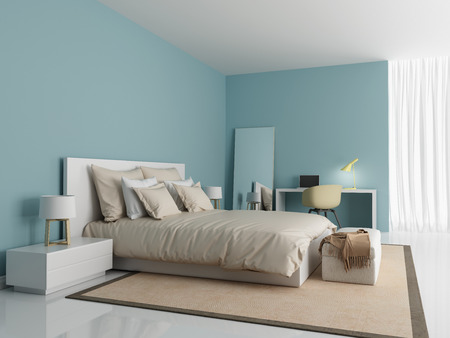 Contemporary modern light blue bedroom