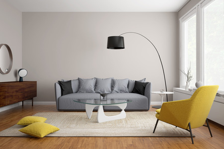 room wallpaper: Modern scandinavian living room with grey sofa