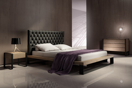Modern bedroom interior with wood walls
