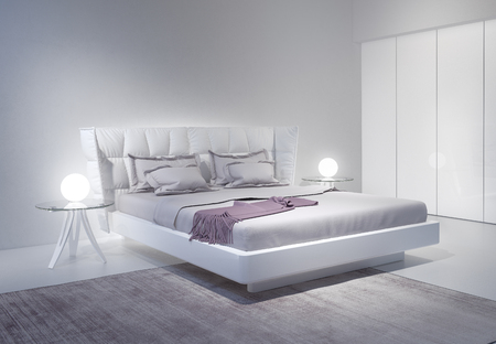 accents: Modern white bedroom interior with violet accents Stock Photo
