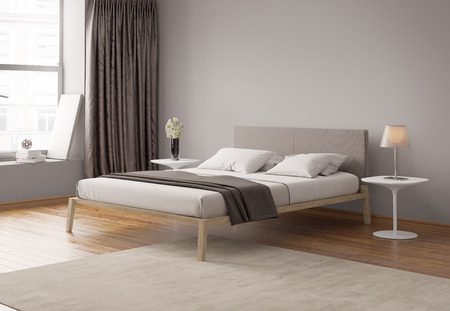 modern bedroom: Modern grey bedroom interior Stock Photo