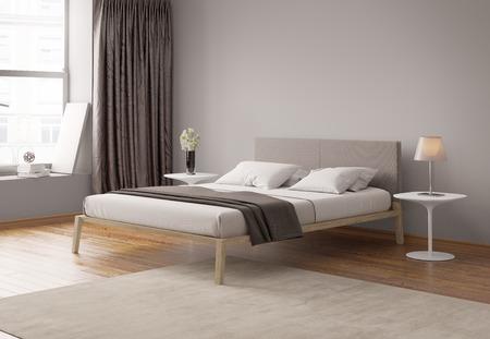 Modern grey bedroom interior Banco de Imagens