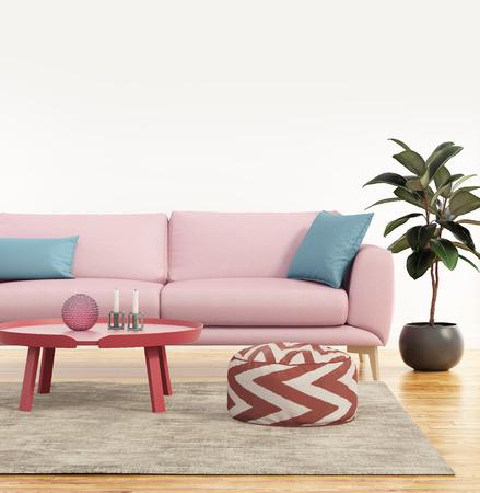 新鮮なリビング ルームでモダンなピンクのソファ