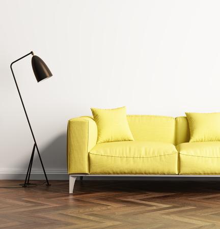 新鮮なリビング ルームでモダンな黄色いソファ