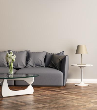 現代のリビングにモダンなグレーのソファー 写真素材