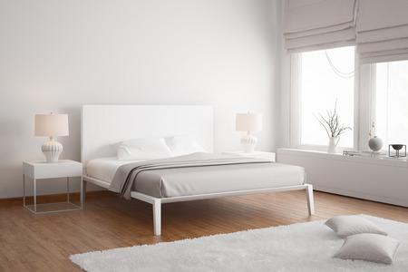 Modern white contemporary bedroom Archivio Fotografico