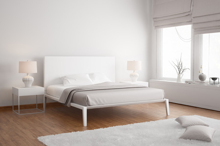 Modern white contemporary bedroom Standard-Bild