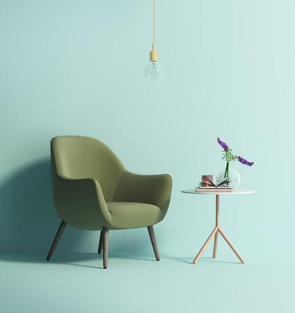 ミントの壁に現代的な緑アームチェア 写真素材