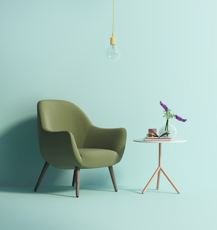 Contemporary green armchair on mint wall Zdjęcie Seryjne - 55833925