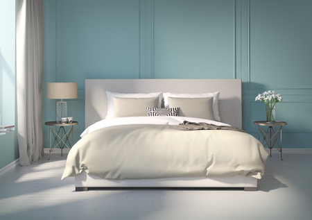 Classic blue bedroom with white floor