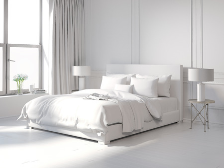 Contemporary all white bedroom