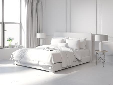 contemporary: Contemporary all white bedroom