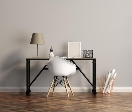 office wall: Elegant white home office table with chair