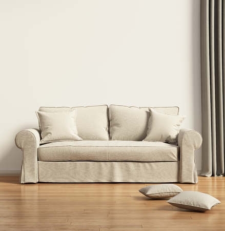 grey rug: Modern beige sofa in a contemprary living room Stock Photo