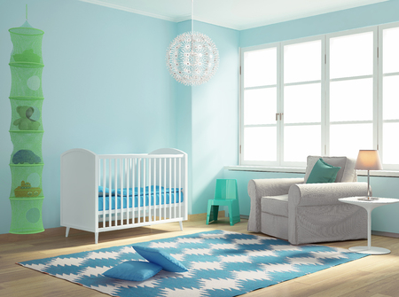 Blue nursery baby room with rug