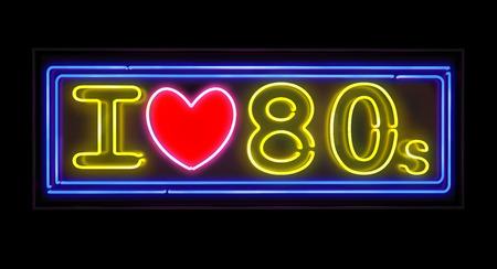 decade: I love the 80s retro neon sign