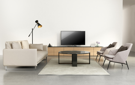 Modern living room with tv wall furniture Archivio Fotografico