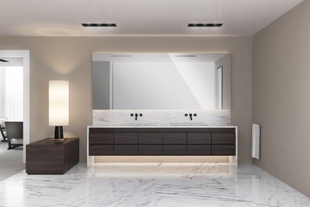modern bathroom: Modern beige bathroom