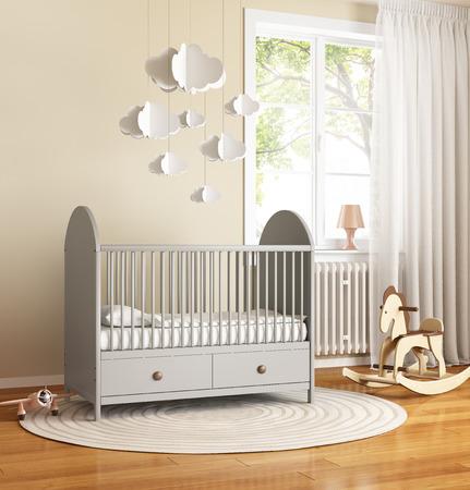grey rug: Beige and grey nursery baby room with rug Stock Photo