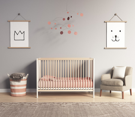 room: Modern nursery room with salmon red and grey accents