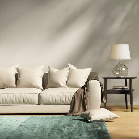 throw cushion: Modern light grey sofa in a contemprary living room Stock Photo