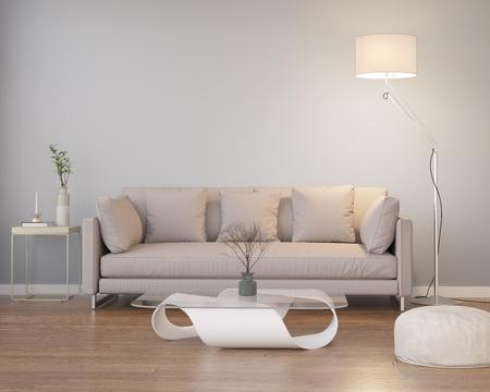 throw cushion: Contemporary modern grey interior with wood floor