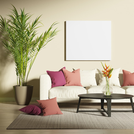 Contemporary living room with mock up poster Stock fotó
