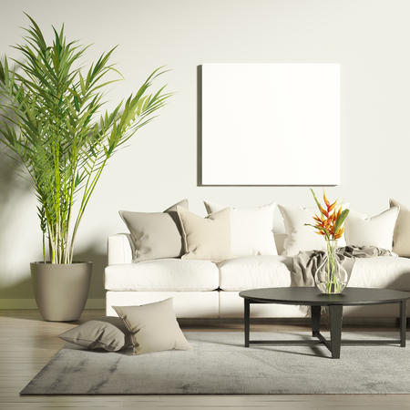 Contemporary living room with mock up poster Stok Fotoğraf