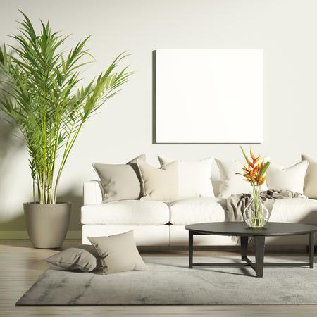 Sala de estar contemporánea con la maqueta del cartel Foto de archivo - 71554856