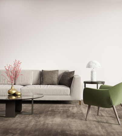Contemporary grey sofa with green armchair