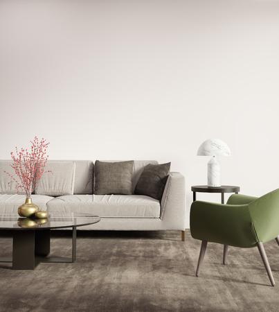 Contemporary grey sofa with green armchair