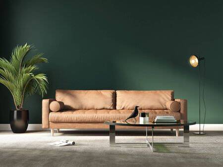 Rendering of a modern green living room with a terracotta sofa and an indoor palm plant