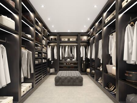 Modern black luxury walk in closet, dressing room, wardrobe