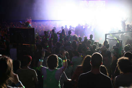 nightclub crowd: Teens having a party Editorial