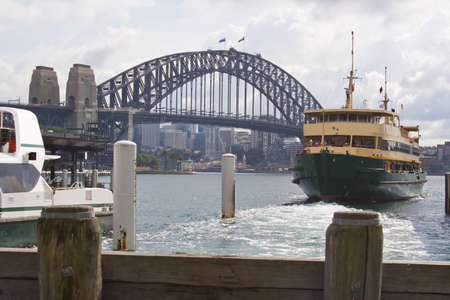 Harbour Bridge in Sydney with wharf