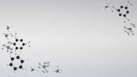 micro: Benzol chemical molecules micro background. 3D illustration