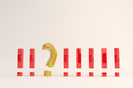 point exclamation: Exclamation point and question mark. 3D illustration